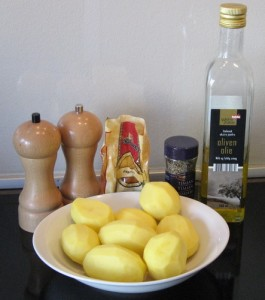 Ingredienserne til græske kartofler