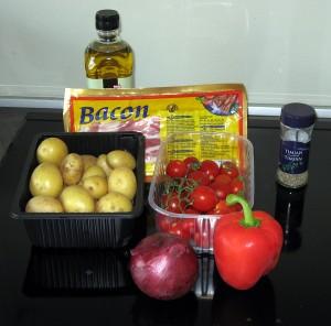 Ingredienserne til kartoffelspyd